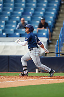 Carlos Cortes (2) of Oviedo High School in Oviedo, Florida playing for the Tampa Bay Rays scout team during the East Coast Pro Showcase on July 28, 2015 at George M. Steinbrenner Field in Tampa, Florida.  (Mike Janes/Four Seam Images)