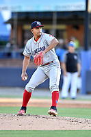 Lakewood BlueClaws starting pitcher Francisco Morales (57) delivers a pitch during a game against the Asheville Tourists at McCormick Field on June 13, 2019 in Asheville, North Carolina. The BlueClaws defeated the Tourists 4-3. (Tony Farlow/Four Seam Images)