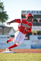 Batavia Muckdogs third baseman Mason Davis (7) running the bases during a game against the Mahoning Valley Scrappers on June 21, 2014 at Dwyer Stadium in Batavia, New York.  Batavia defeated Mahoning Valley 10-6.  (Mike Janes/Four Seam Images)