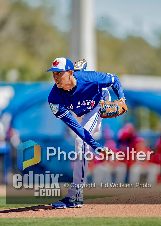 6 March 2019: Toronto Blue Jays pitcher Aaron Sanchez on the mound during a Spring Training game against the Philadelphia Phillies at Dunedin Stadium in Dunedin, Florida. The Blue Jays defeated the Phillies 9-7 in Grapefruit League play. Mandatory Credit: Ed Wolfstein Photo *** RAW (NEF) Image File Available ***