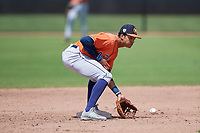Houston Astros shortstop Jeremy Pena (1) fields a throw on a stolen base attempt during a Minor League Spring Training Intrasquad game on March 28, 2019 at the FITTEAM Ballpark of the Palm Beaches in West Palm Beach, Florida.  (Mike Janes/Four Seam Images)
