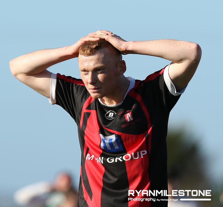 FAI Junior Cup Quarter Final.<br /> Peake Villa v Sheriff YC<br /> Tower Grounds,<br /> Thurles, Co Tipperary<br /> Sunday 12th March 2017<br /> Matthew Fogarty (Peake Villa) dejected at the end of the game.<br /> Photo Credit: Michael P Ryan