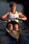 Rowing, Women's sports, Woman rowing single racing shell, Seattle, Washington,