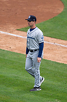Columbus Clippers manager Tony Mansolino (11) during an International League game against the Indianapolis Indians on April 30, 2019 at Victory Field in Indianapolis, Indiana. Columbus defeated Indianapolis 7-6. (Zachary Lucy/Four Seam Images)
