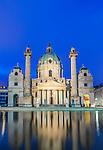 Europe, Austria, Vienna, Karskirche (St. Charles Church) at Dawn