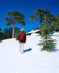 ZYPERN, Sued-Zypern, Bezirk Paphos: Troodos-Gebirge im Landesinnern: Urlauberin im Schnee unterwegs zum Gipfel | CYPRUS, South-Cyprus, Paphos region: Hiker in Snow at Troodos-Mountains