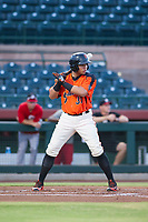 AZL Giants right fielder Diego Rincones (35) at bat against the AZL Reds on August 12, 2017 at Scottsdale Stadium in Scottsdale, Arizona. AZL Giants defeated the AZL Reds 1-0. (Zachary Lucy/Four Seam Images)