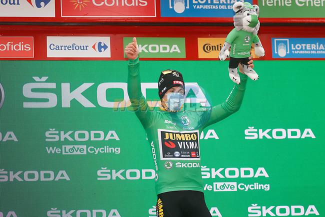 Race leader Primoz Poglic (SLO) Team Jumbo-Visma also retains the points Green Jersey at the end of Stage 14 of the Vuelta Espana 2020, running 204.7km from Lugo to Ourense, Spain. 4th November 2020. <br /> Picture: Luis Angel Gomez/PhotoSportGomez | Cyclefile<br /> <br /> All photos usage must carry mandatory copyright credit (© Cyclefile | Luis Angel Gomez/PhotoSportGomez)