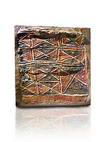 Wall fresco of geometric red and black triangles which appears to be a rug pattern copy. 6000 BC. . Catalhoyuk Collections. Museum of Anatolian Civilisations, Ankara. Against a white background