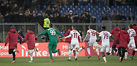 Calcio, Serie A: AS Roma - AC Milan, Roma, stadio Olimpico, 25 febbraio, 2018.<br /> Milan's players celebrate after winning 2-0 the Italian Serie A football match between AS Roma and AC Milan at Rome's Olympic stadium, February 28, 2018.<br /> UPDATE IMAGES PRESS/Isabella Bonotto