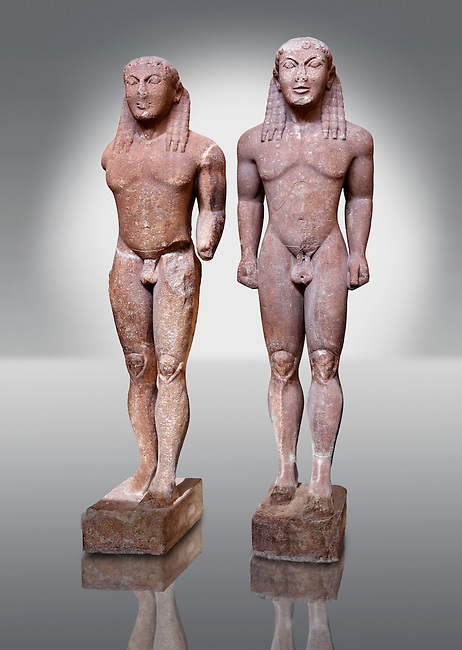 Kouros Statues of the Archaic Period. Early 6th c. B.C. (circa 580 B.C.)  Known as Kleovis and Biton, the two boys who heroically pulled their mother on her chariot to the sanctuary where she was to worship. They pulled the chariot for a distance of about 8km. They died the same night peacefully in their sleep according to Herodotus. Delphi Archaeological Museum.