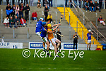 Lixnaws William Costello and Gerard Stackpoole double mark Kilmoyley's Daniel Collins as the sliotor approaches,   in round 2 of the County Senior hurling championship
