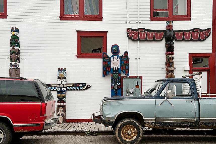 Totems and trucks , Skagway, AK, Alaska, USA