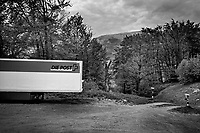 Switzerland. Canton Ticino. Val Colla. A semi-tractor-trailer truck is parked near the Grotto del Faggio. The trailer is used by the Swiss Post to carry freight. Swiss Post (French: La Poste suisse, Italian: La Posta Svizzera, German: Die Schweizerische Post, Romansh: La Posta Svizra) is the national postal service of Switzerland. A public company owned by the Swiss Confederation, it is the country's second largest employer. A semi-tractor-traile is variously known as a transport truck, semi-trailer truck, tractor-trailer truck, semi-tractor truck, semi-truck, trailer truck, tractor truck transfer truck, articulated truck, artic, single truck, semi-tractor-trailer, semi-trailer, tractor-trailer, semi-tractor, semi, trailer and articulated lorry, depending on the country. A semi-tractor-trailer truck is the combination of a tractor unit and one semi-trailer to carry freight. 25.04.2020 © 2020 Didier Ruef