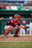 Lowell Spinners catcher Kole Cottam (39) awaits a warmup pitch during a game against the Batavia Muckdogs on July 14, 2018 at Dwyer Stadium in Batavia, New York.  Lowell defeated Batavia 8-4.  (Mike Janes/Four Seam Images)