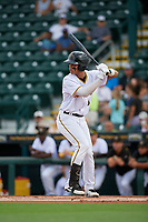 Bradenton Marauders Endy Rodriguez (5) bats during Game One of the Low-A Southeast Championship Series against the Tampa Tarpons on September 21, 2021 at LECOM Park in Bradenton, Florida.  (Mike Janes/Four Seam Images)