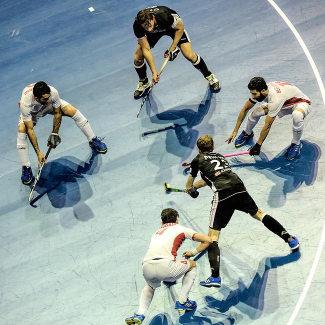 Berlin, Germany, February 10: During the FIH Indoor Hockey World Cup semi-final match between Germany (black) and Iran (white) on February 10, 2018 at Max-Schmeling-Halle in Berlin, Germany. Final score 6-2. (Photo by Dirk Markgraf / www.265-images.com) <br /> <br /> #Berlin #HeimWM #FIH #FIHockey #IHWC2018 #Honamas @_honamas_ #Deutschland #WirfuerD @dhb_hockey @real_markt @reece_australia @vapiano_germany @mannheimerhc @fjphh