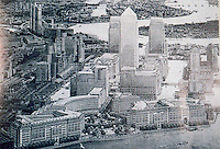 """London: Docklands, Canary Wharf as now envisaged from the West--a """"Mini-Manhattan"""". ARCH. REV. NOV. '88.  Reference only."""