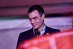 Prime Minister of Spain, Pedro Sanchez thanks supporters as they wave flags in the air outside of the PSOE (Spanish Socialist Workers Party) headquarters in Madrid. Spaniards go to the polls to elect 350 members of the parliament and 208 senators this Sunday. This will be the 14th General Election since the transition to democracy resulting in the Constitution of 1978. There are five main parties: the two traditional parties are the right-wing Partido Popular (People's Party) and the centre-left Partido Socialista Obrero Espanol or PSOE (Spanish Socialist Workerss Party), along with right-wing parties Ciudadanos (Citizens) and VOX and the left wing party, Podemos (We Can). November 10, 2019. (ALTERPHOTOS/A. Perez Meca)
