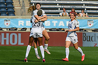 BRIDGEVIEW, IL - JULY 18: Bethany Balcer #24 of the OL Reign celebrates her goal during a game between OL Reign and Chicago Red Stars at SeatGeek Stadium on July 18, 2021 in Bridgeview, Illinois.