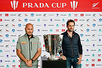 11th February 2021, Auckland, New Zealand;  Luna Rossa Prada Pirelli Team CEO Max Sirena (Italy) and INEOS Team UK Skipper Sir Ben Ainslie (England) with the PRADA Cup. PRADA Cup Final Opening press conference at the PRADA media centre, America's Cup Race Village, Halsey Wharf, Auckland on Thursday 11th February 2021.