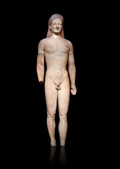 Parian marble Ancient Greek Archaic statue of a kouros, found in Merenda, Attica, Circa 540-530 BC, Athens National Archaeological Museum. Cat no 4890.  Against black<br /> <br /> This funerary statue was found in the same pit as Phrasikleia cat no 4489. An important Archaic Period sculpture with a lively body rendering and one of the best examples of a kouros statue.