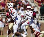 Florida State defensive end DeMarcus Walker (44) drags down Louisville quarterback Lamar Jackson in the first half of an NCAA college football game in Tallahassee, Fla., Saturday, Oct. 17, 2015. (AP Photo/Mark Wallheiser)