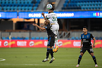 SAN JOSE, CA - SEPTEMBER 16: Eryk Williamson #30 of the Portland Timbers & Judson #93 of the San Jose Earthquakes battle for the ball during a game between Portland Timbers and San Jose Earthquakes at Earthquakes Stadium on September 16, 2020 in San Jose, California.