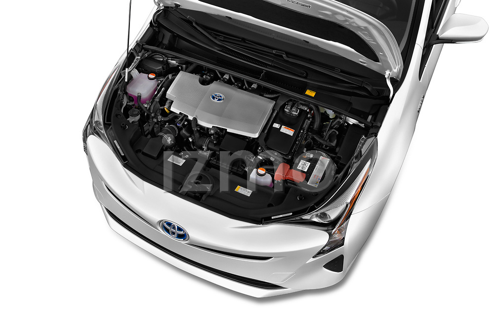 Car Stock 2018 Toyota Prius Two 5 Door Hatchback Engine  high angle detail view