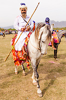 Asia,India,Punjab, Anandpur Sahib,  Nihang Sikhs ( Shikhs Warrior ) With Weapon And Horses  the Holla Mohalla annual festival