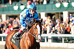 18 October 2009: Number 6 Get Stormy, ridden by Javier Castellano and trained by Thomas Bush gallops back to his connections after winning the 9th running of the Bryan Station Grade III Stake at Keeneland in Lexington, Kentucky.