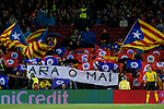 Spectators wave Catalonia flags during the UEFA Champions League 2017-18 match between FC Barcelona and Olympiacos FC at Camp Nou on 18 October 2017 in Barcelona, Spain. Photo by Vicens Gimenez / Power Sport Images