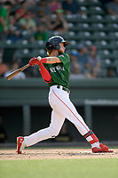 Center fielder Cole Brannen (10) of the Greenville Drive bats in a game against the West Virginia Power on Sunday, May 19, 2019, at Fluor Field at the West End in Greenville, South Carolina. Greenville won, 8-4. (Tom Priddy/Four Seam Images)