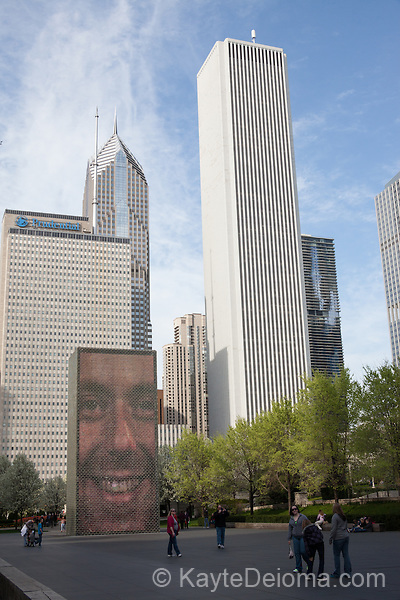 Crown Fountain with art by Jaume Plensa at Millennium Park, Chicago, IL, USA