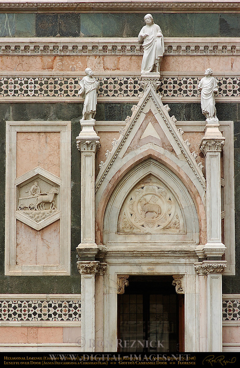 Hexagonal Lozenge (Chariot of Thespis) Two Prophets and the Redeemer Lunette over Door (Agnus Dei carrying Christian Flag) Andrea Pisano (c. 1340) Giotto's Campanile Door Florence