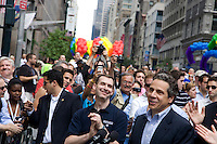 Governor Andrew Cuomo speaks prior to the 2011 NYC Pride March on 26 June 2011 in New York, New York, two days after the New York State Senate voted 33-29 to legalize gay marriage.