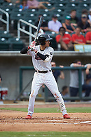 Laz Rivera (5) of the Birmingham Barons at bat against the Pensacola Blue Wahoos at Regions Field on July 7, 2019 in Birmingham, Alabama. The Barons defeated the Blue Wahoos 6-5 in 10 innings. (Brian Westerholt/Four Seam Images)