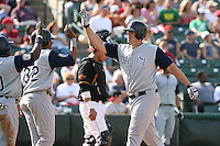May 26th, 2008:  Right fielder Brad Eldred (37) of the Charlotte Knights, Class-AAA affiliate of the Chicago White Sox, hits a grand slam home run during a game at Frontier Field in Rochester, NY.  Photo by:  Mike Janes/Four Seam Images