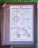 14 April 2013: The game Roster Sheet is displayed in the Washington Nationals dugout prior to a game against the Atlanta Braves at Nationals Park in Washington, DC. The Braves shut out the Nationals 9-0 to sweep their 3-game series. Mandatory Credit: Ed Wolfstein Photo *** RAW (NEF) Image File Available ***