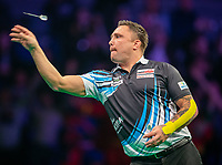 12th March 2020; M and S Bank Arena, Liverpool, Merseyside, England; Professional Darts Corporation, Unibet Premier League Liverpool; Gerwyn Price throws a dart against Michael van Gerwen during his night six match
