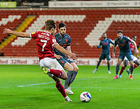 21st November 2020, Oakwell Stadium, Barnsley, Yorkshire, England; English Football League Championship Football, Barnsley FC versus Nottingham Forest; Callum Brittain of Barnsley with the crossing assist for the second goal for Barnsley