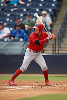Clearwater Threshers catcher Henri Lartigue (4) at bat during a game against the Tampa Tarpons on April 22, 2018 at George M. Steinbrenner Field in Tampa, Florida.  Clearwater defeated Tampa 2-1 (Mike Janes/Four Seam Images)