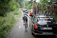 Marco Coledan (ITA/Trek Factory Racing) getting back to the teamcar for info<br /> <br /> stage 5: Eindhoven - Boxtel (183km)<br /> 29th Ster ZLM Tour 2015