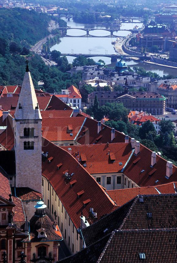 aerial, Prague, Czech Republic, Praha, Vltava River, Central Bohemia, Europe, Aerial view of the city of Prague from Prague Castle.