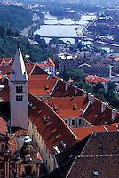 aerial, Prague, Czech Republic, Praha, Vltava River, Central Bohemia, Europe, Aerial view of the city of Prague from Prague Castle.