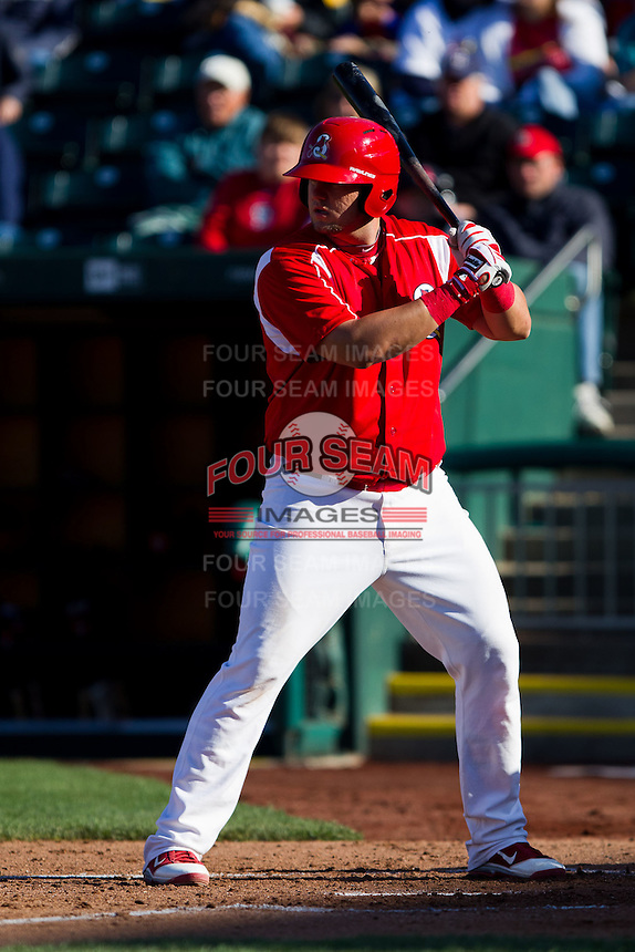 Matthew Adams (25) of the Springfield Cardinals at bat during a game against the Frisco RoughRiders on April 16, 2011 at Hammons Field in Springfield, Missouri.  Photo By David Welker/Four Seam Images