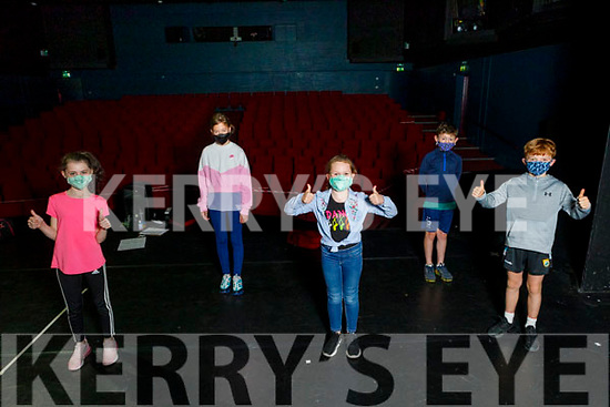 Members of the junior drama group on stage as they return to the National Folk Theatre Training Academy in Siamsa Tire on Monday.<br /> Front l to r: Sophie Harper, Sadie Duffy, Matthew Quilter. Back: Sarah Cox and John O'Scanlan Kennelly.