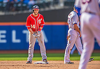 20 April 2013: Washington Nationals outfielder Bryce Harper stands on second after hitting a double to left in the fifth inning against the New York Mets at Citi Field in Flushing, NY. Harper went 3 for 3 with 3 RBIs and two home runs as the Nationals defeated the Mets 7-6 to tie their 3-game series at one a piece. Mandatory Credit: Ed Wolfstein Photo *** RAW (NEF) Image File Available ***
