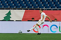 FOXBOROUGH, MA - AUGUST 5: Max Flick #4 of North Carolina FC passes the ball during a game between North Carolina FC and New England Revolution II at Gillette Stadium on August 5, 2021 in Foxborough, Massachusetts.