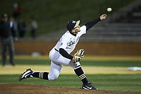 Wake Forest Demon Deacons relief pitcher Bobby Hearn (34) delivers a pitch to the plate against the Florida State Seminoles at David F. Couch Ballpark on March 9, 2018 in  Winston-Salem, North Carolina.  The Seminoles defeated the Demon Deacons 7-3.  (Brian Westerholt/Four Seam Images)